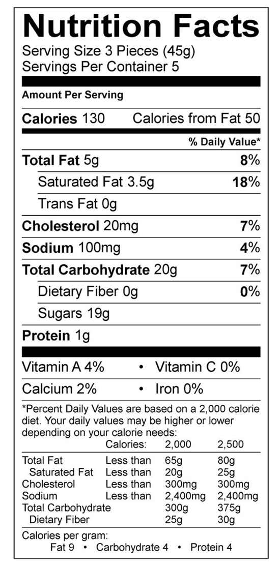 Bourbon Vanilla Caramel Nutritional Label