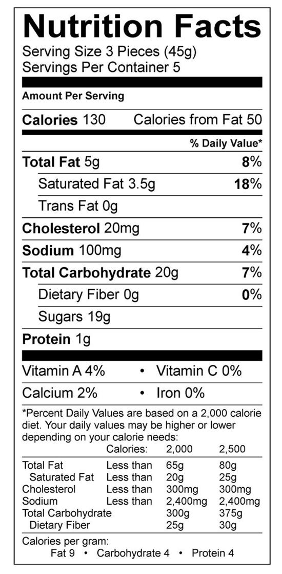 Bourbon Vanilla Caramel Nutritional Label