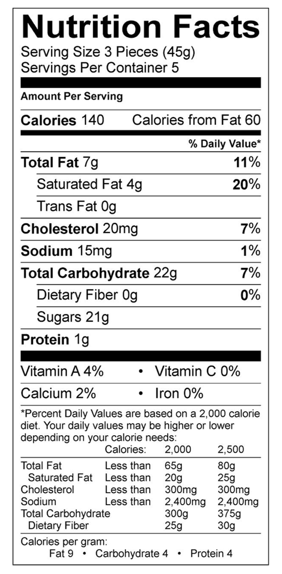 Chocolate Caramel Nutritional Label