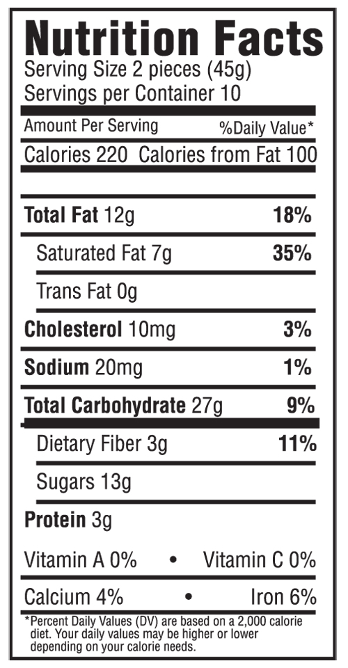 Dark Chocolate Modjeska Nutritional Label