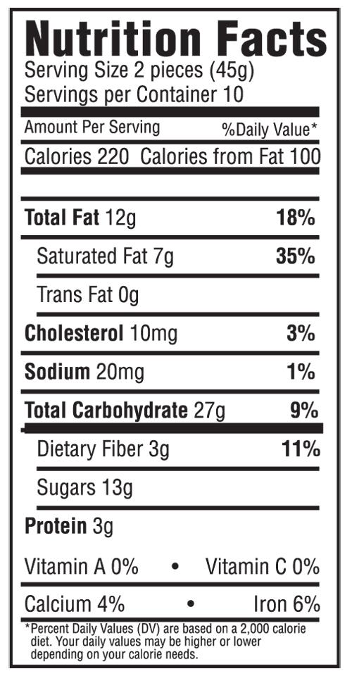 Dark Chocolate Modjeska Nutritional Label