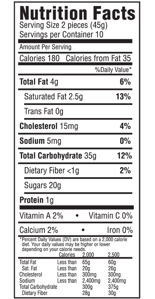 Modjeska Nutritional Label