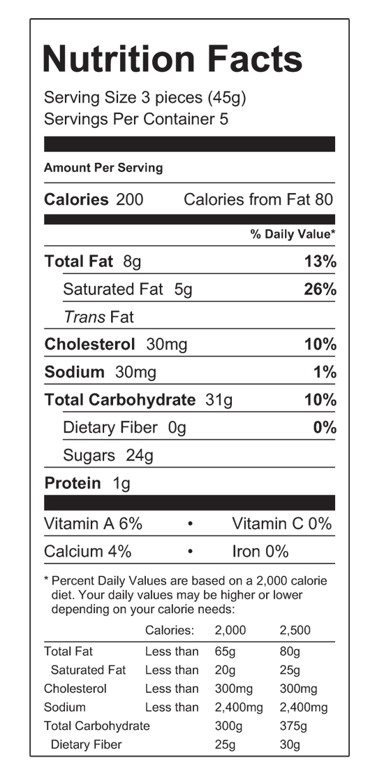 Vanilla Caramels Nutritional Label